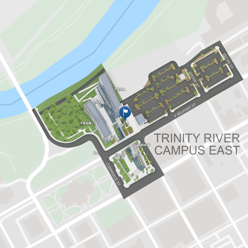 A map of Trinity River Campus East. Click to explore the complete map in a new window.